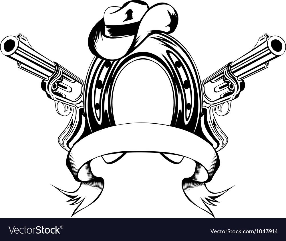 Horse shoe and cowboys hat vector image