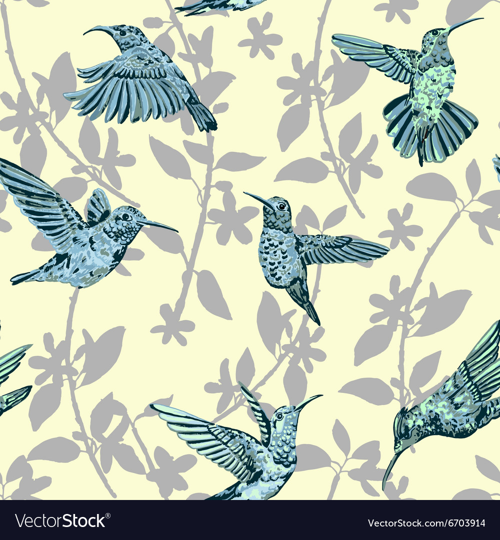 Hummingbird seamless pattern Hand drawn tropical