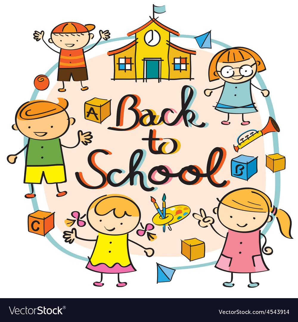 Back to school kindergarten. Kids heading