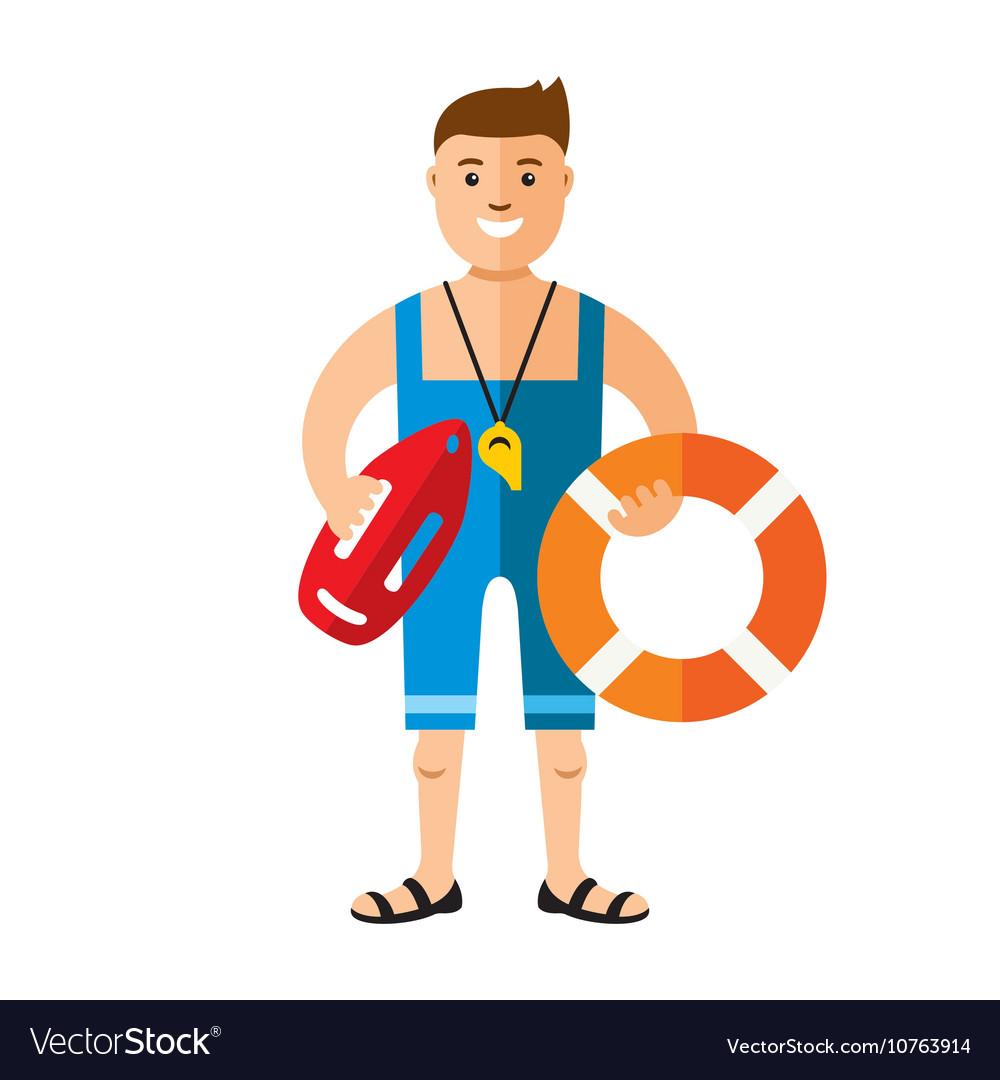Lifeguard flat style colorful cartoon