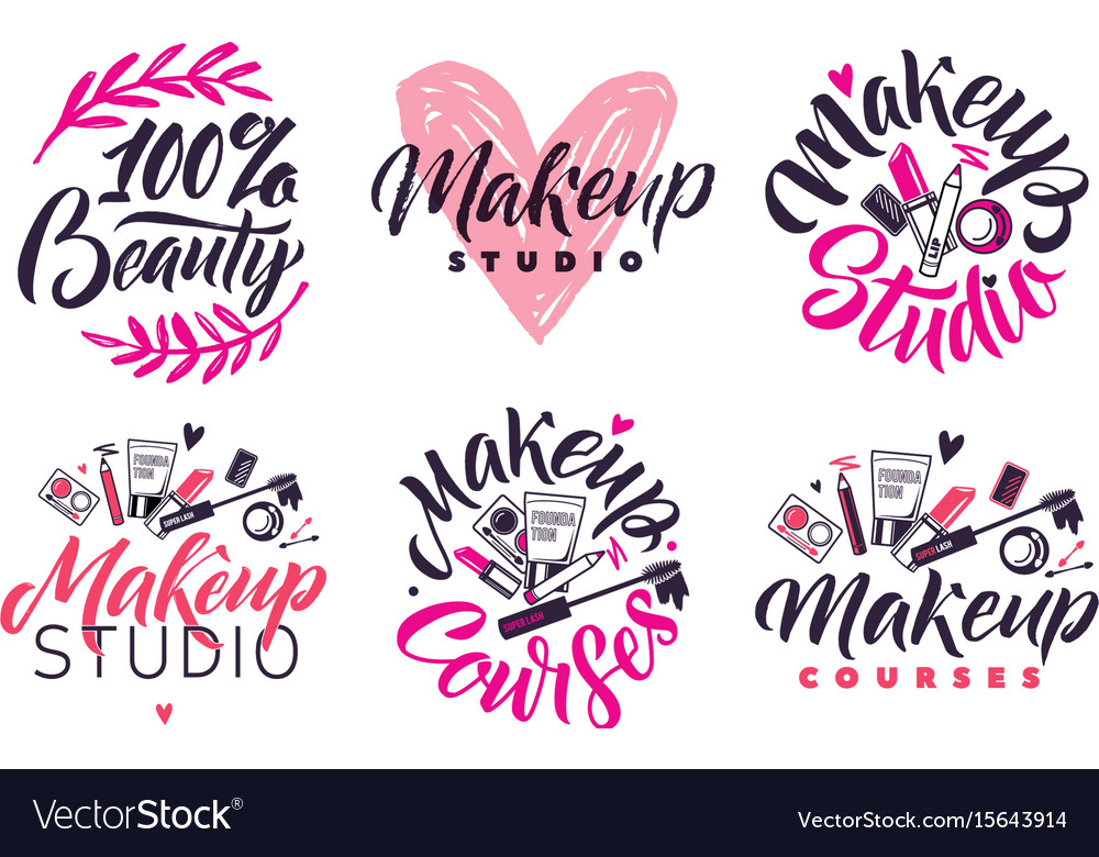 Makeup studio and courses logo set vector image
