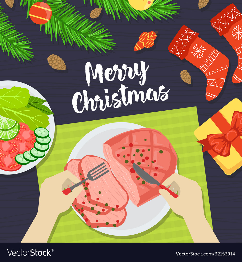 Merry christmas banner person eating festive