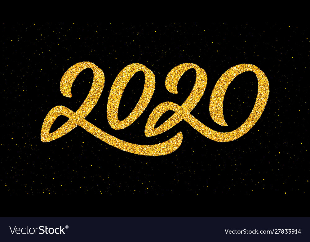 New year 2020 greeting card with calligraphy