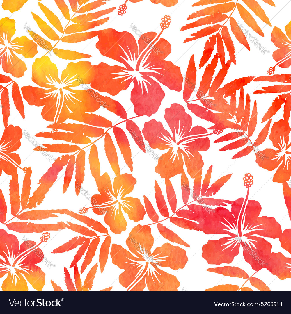 Red watercolor hibiscus seamless pattern