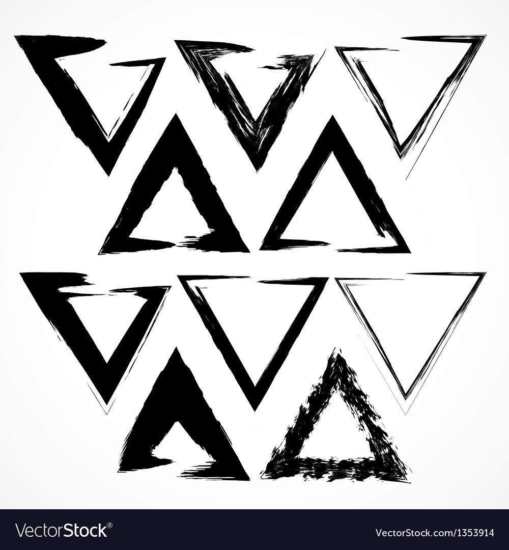 Set of grunge triangle brush strokes vector image