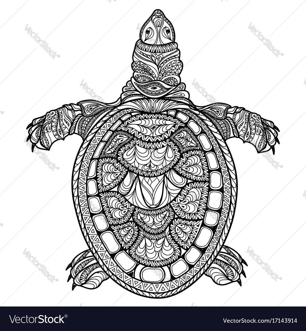 Turtle isolated ornamental oriental tribal