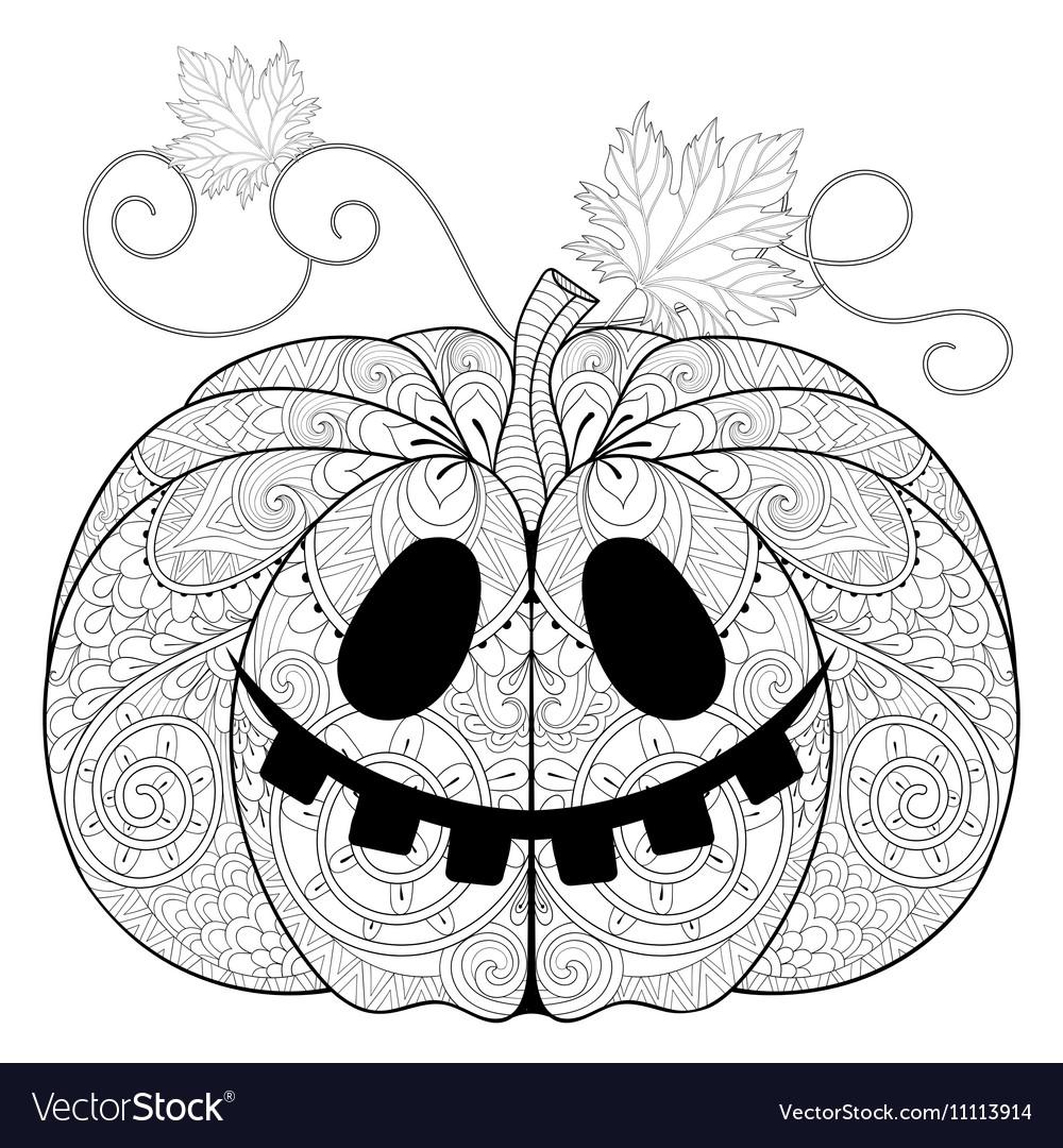 Zentangle Stylized Pumpkin For Halloween Vector Image
