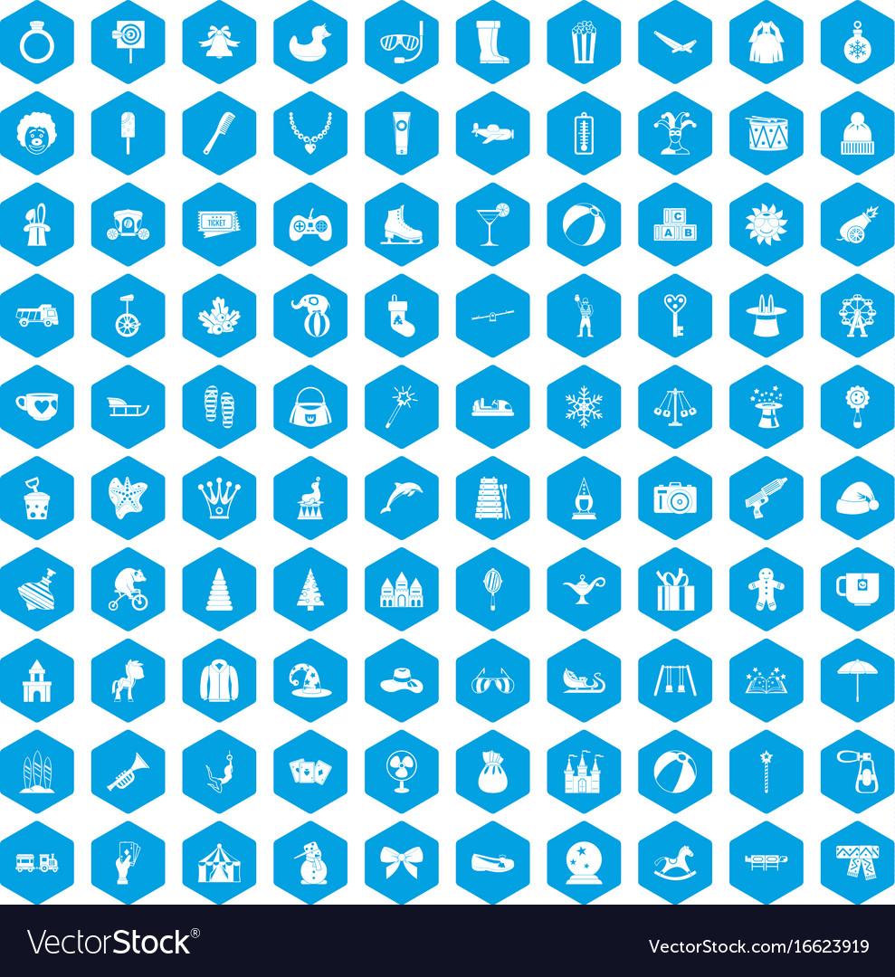 100 children icons set blue