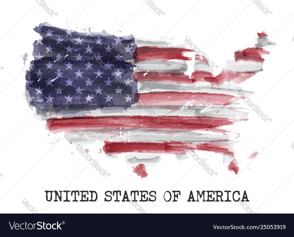 America flag watercolor painting design