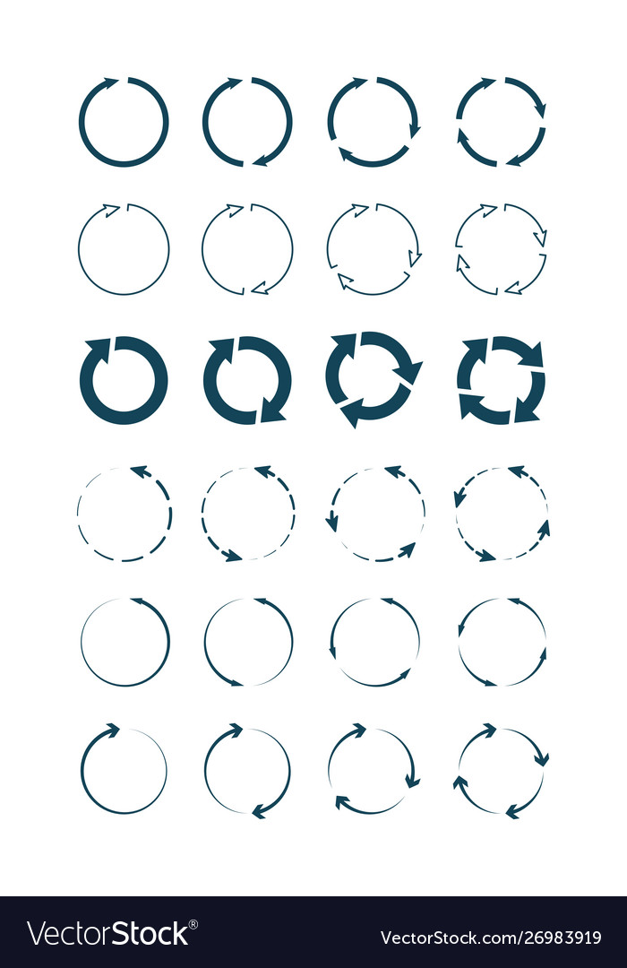 Circle arrows round forms and shapes infographic