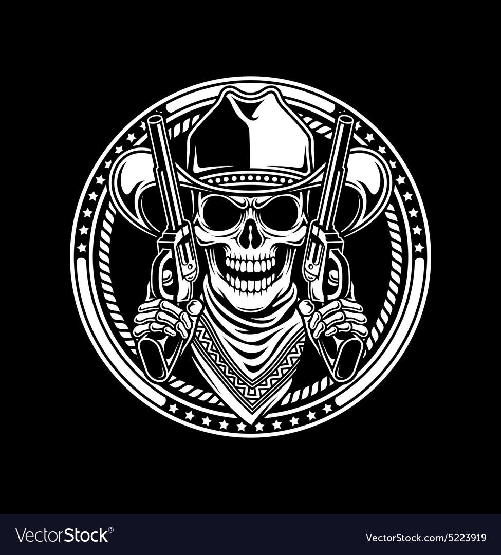 Cowboy Skull Hold Guns