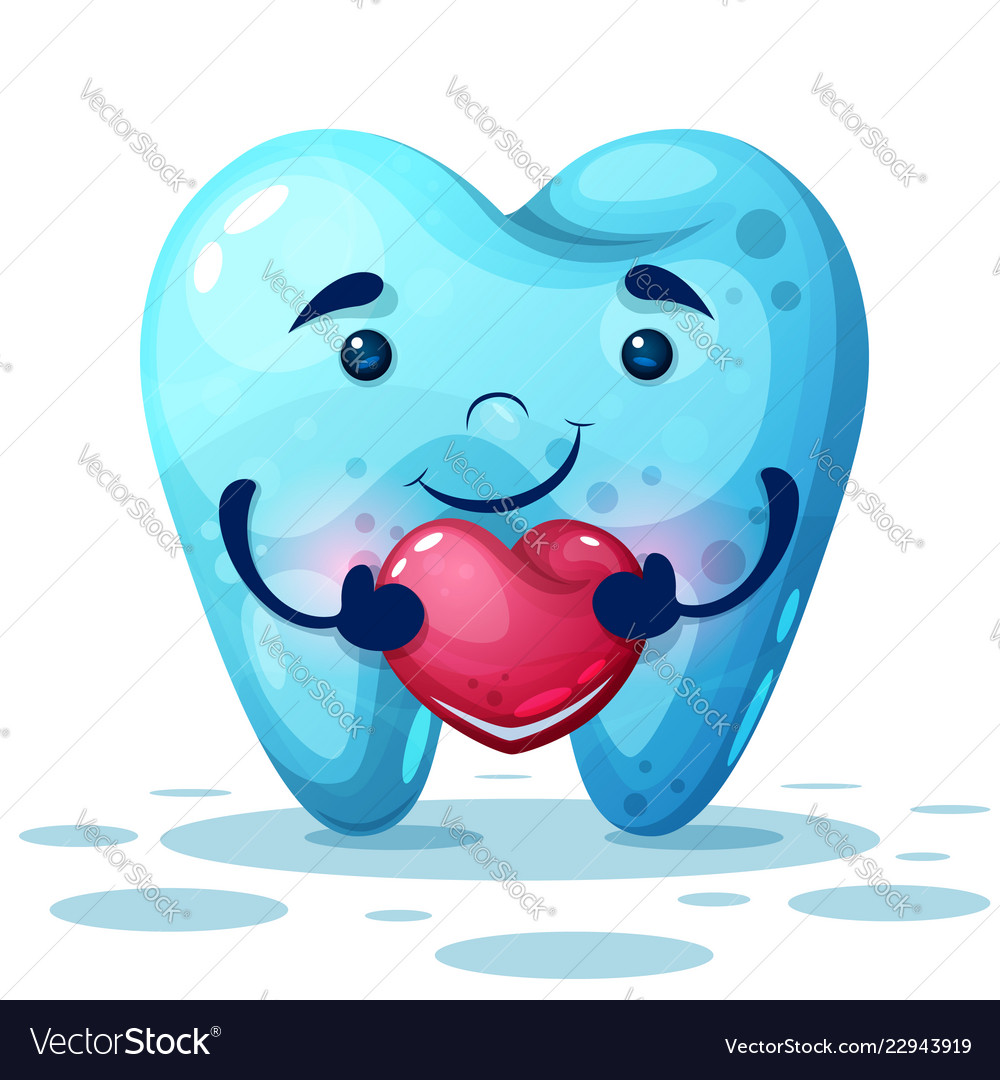 Cute cartoon tooth with pink heart