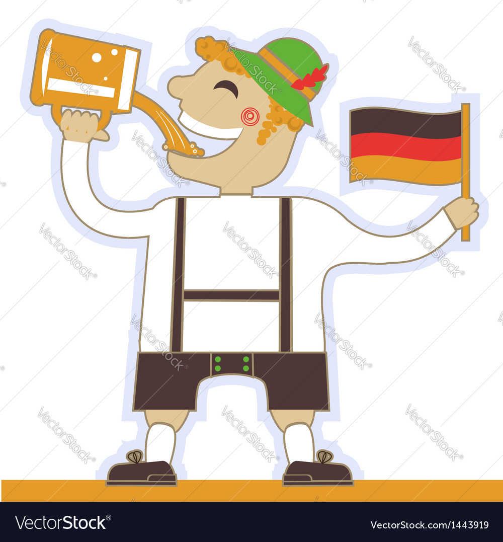 German man drinking beer and holding flag