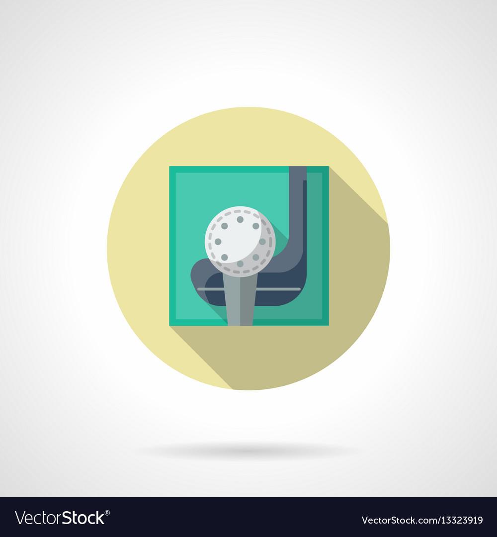 Golfing flat round icon