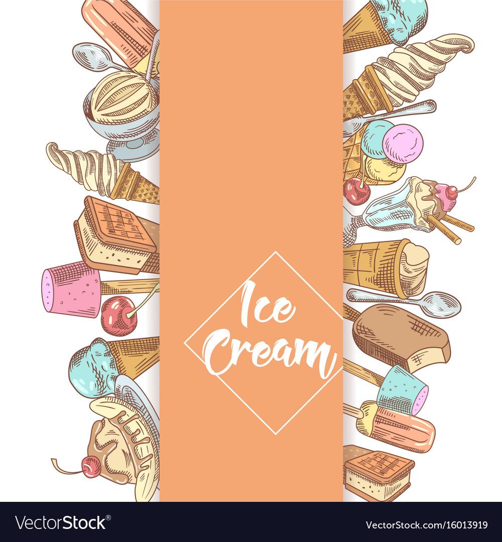 Ice cream and desserts hand drawn menu
