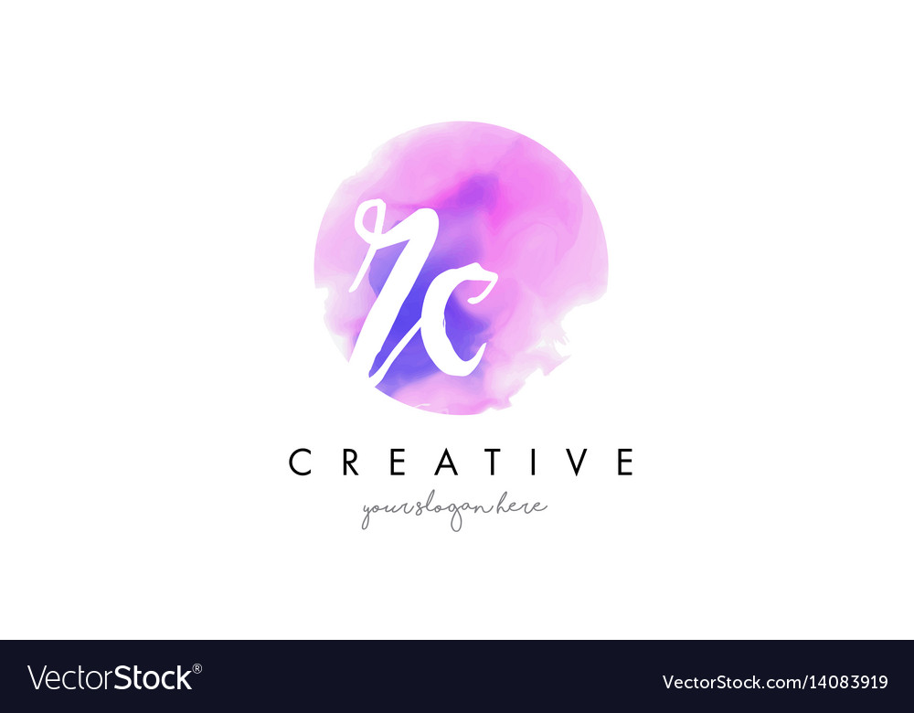 Rc watercolor letter logo design with purple