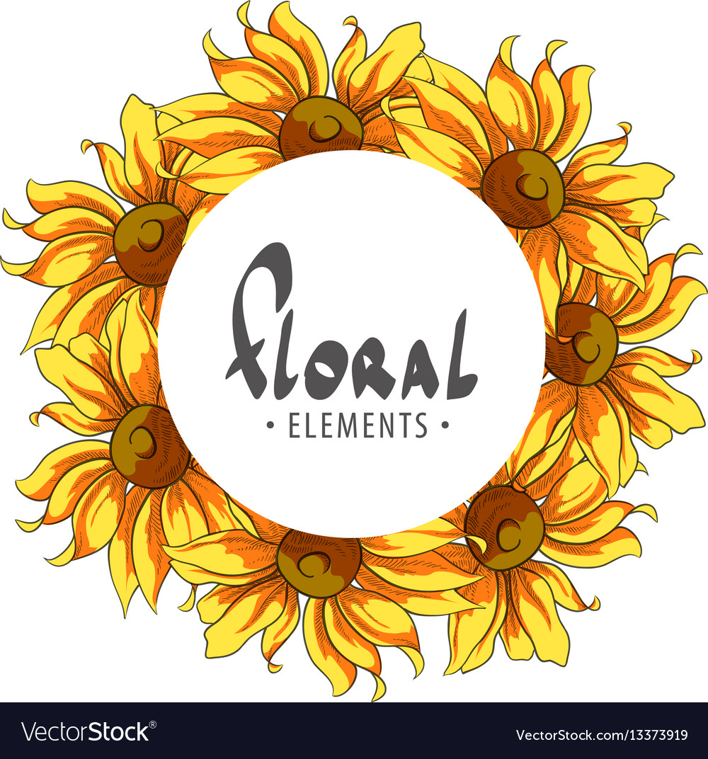 Round frame of sunflowers Royalty Free Vector Image