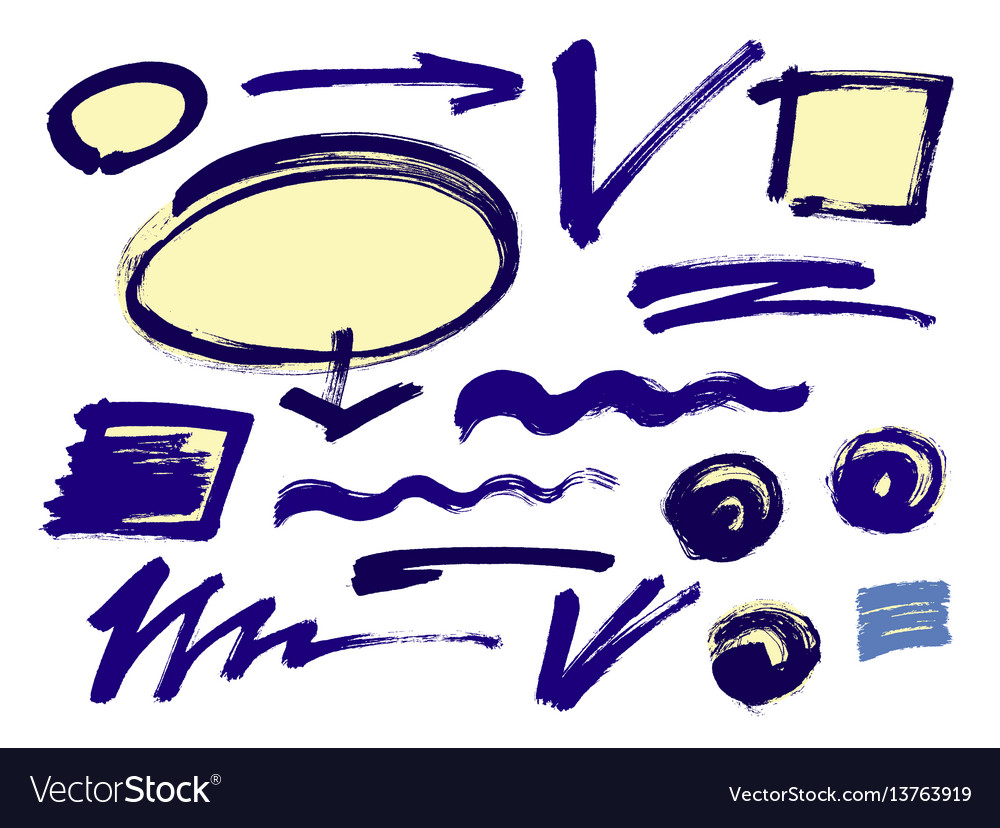 Set of hand drawn grunge design elements frames vector image
