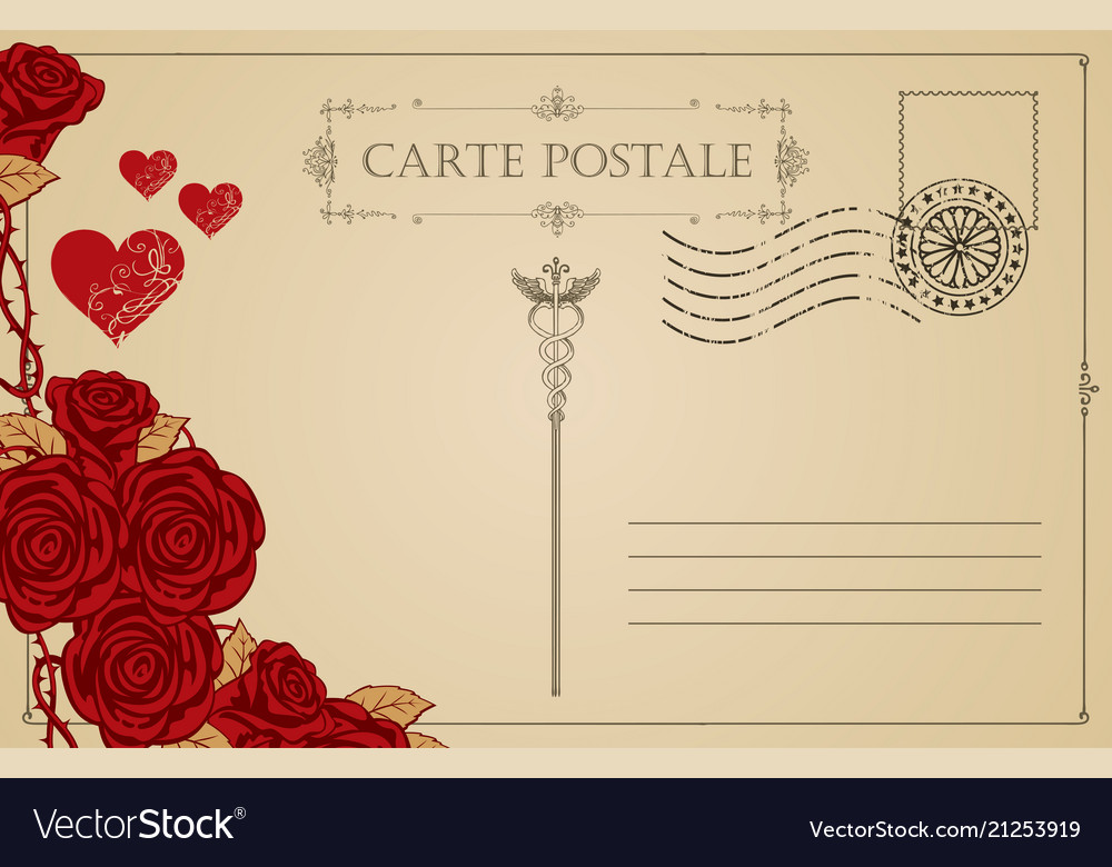 Vintage postcard with red hearts and roses