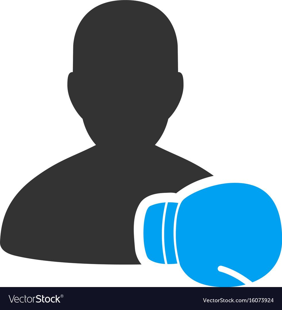 Boxing sportsman flat icon