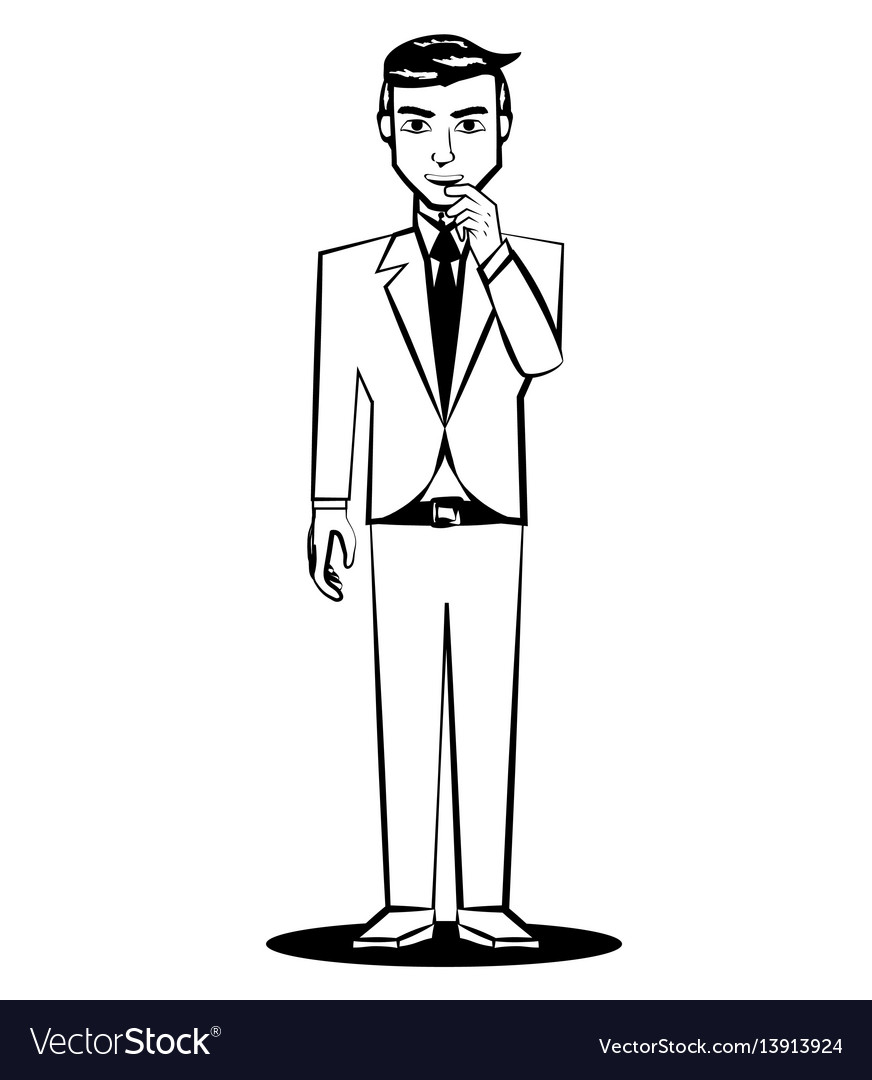 Business man thinking comic outline