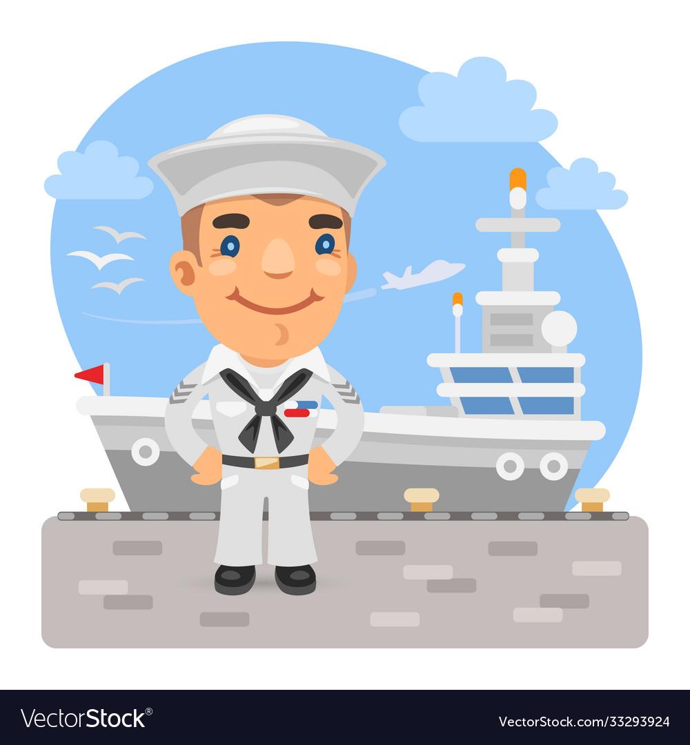 Cartoon sailor and aircraft carrier