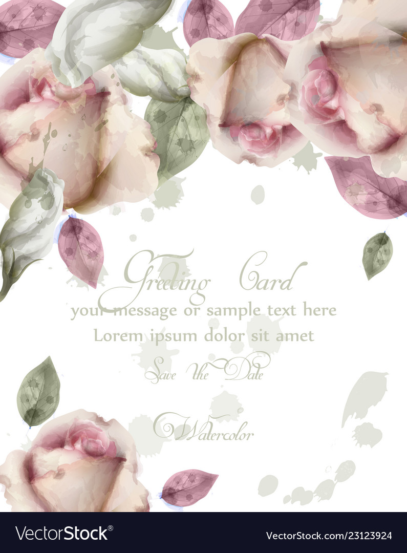 Greeting card with watercolor flowers background
