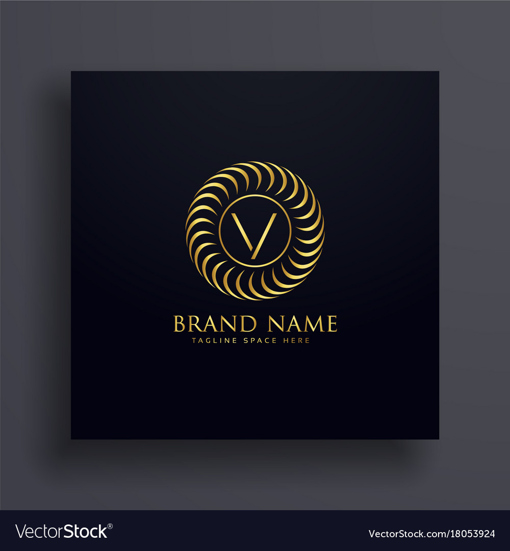 Luxury letter v logo concept design in golden