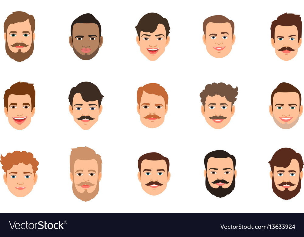Male portrait with various hairstyle vector image