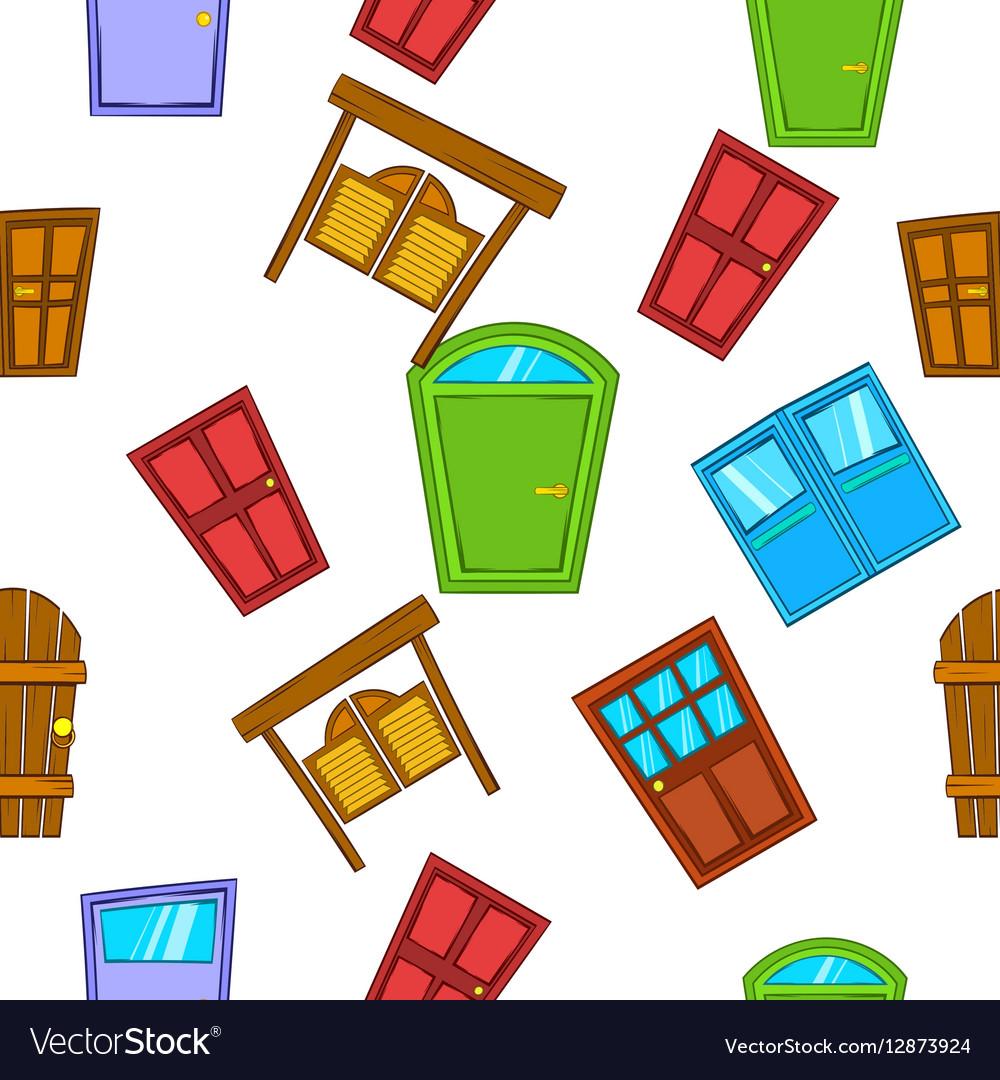 Opening door pattern cartoon style