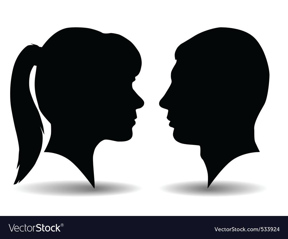 Profile silhouettes vector image
