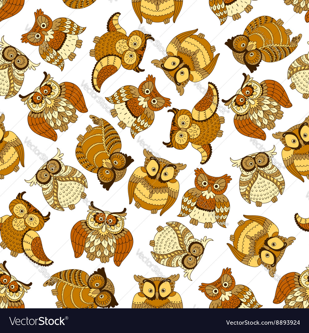 Retro seamless cute owls birds pattern background