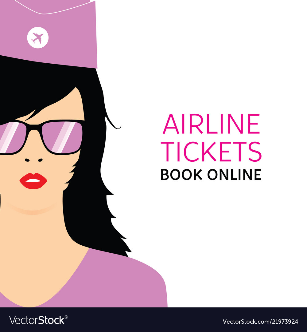 Stewardess black in violet uniforms with booking