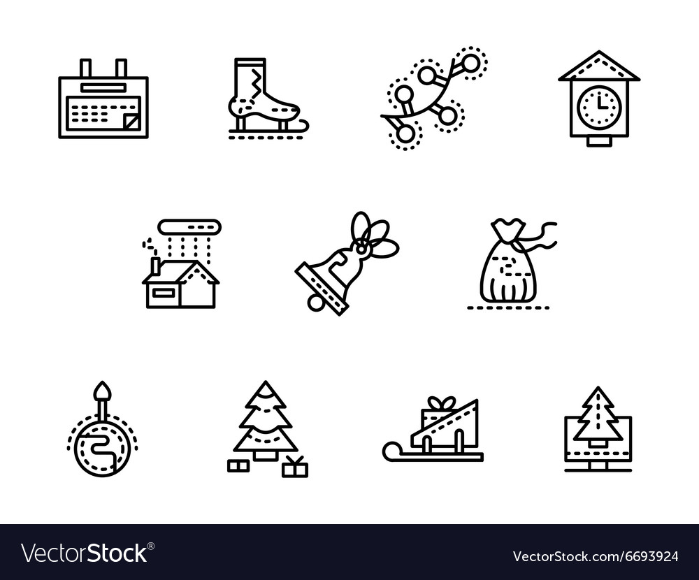 Wintertime black line icons set vector image