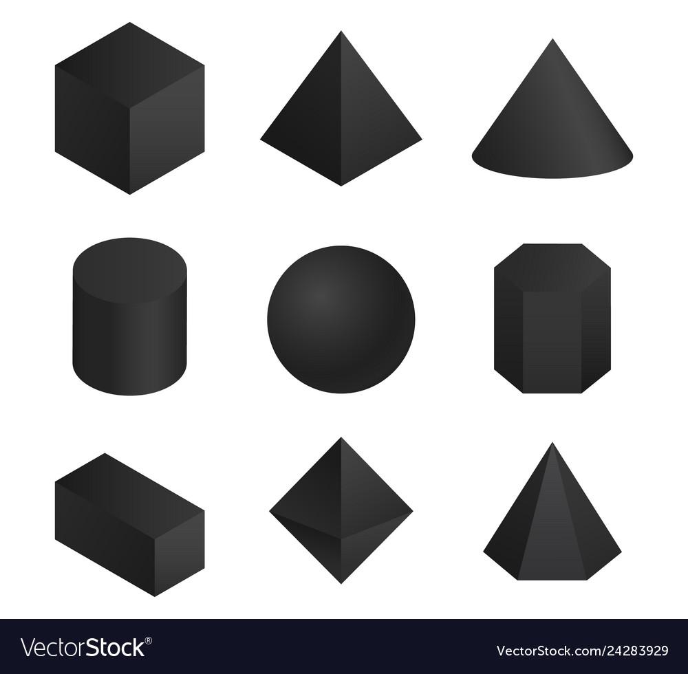 3d geometric shapes set