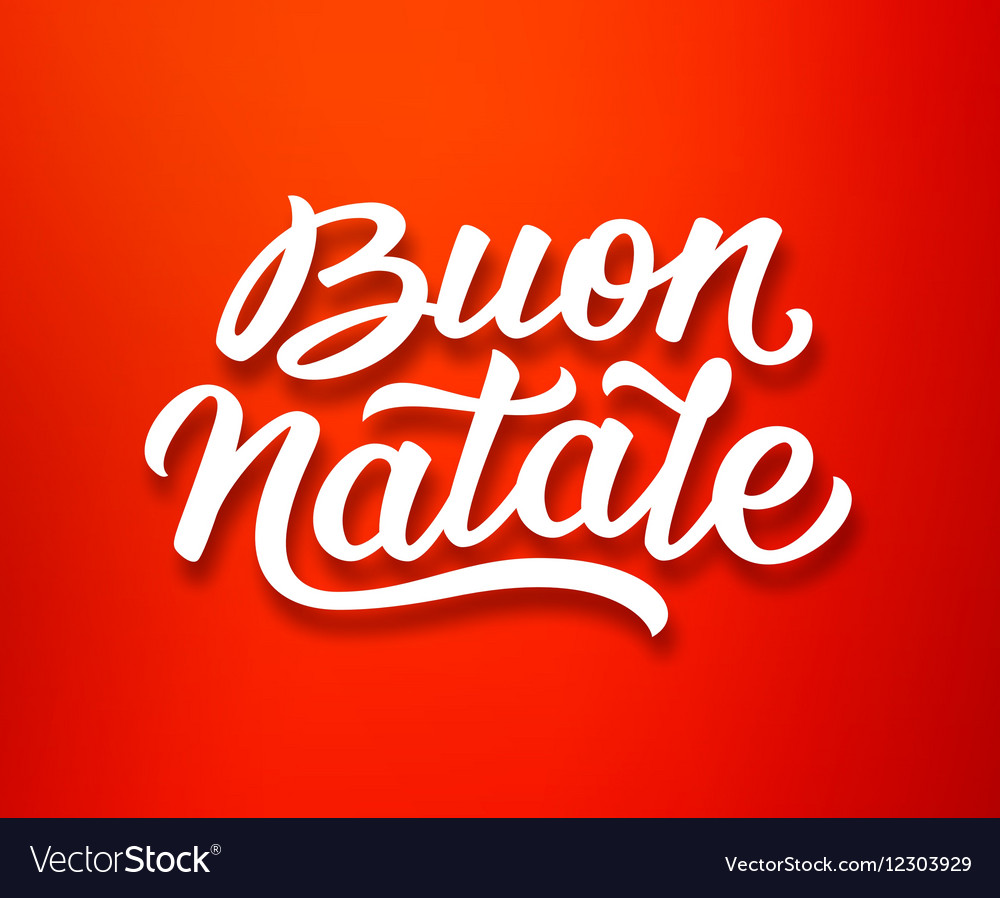 Buon Natale Lettering In Italian Christmas Card Vector Image