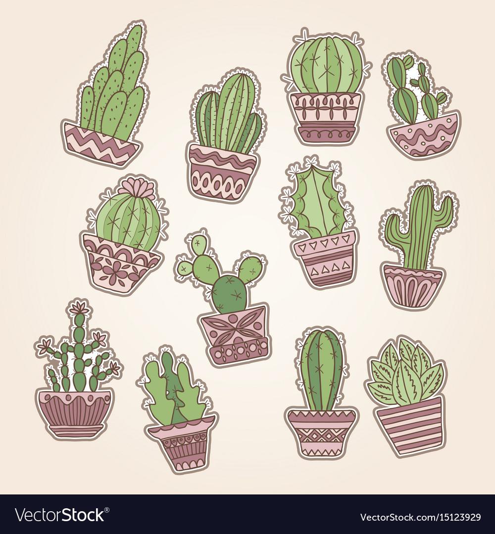 Cute hand drawn cactuse set