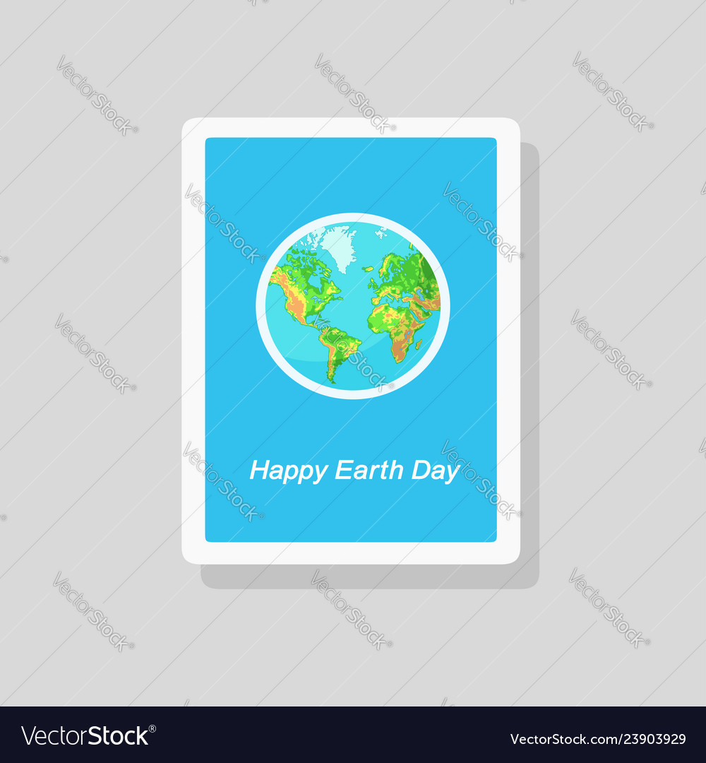 Greeting earth day card with globe on blue
