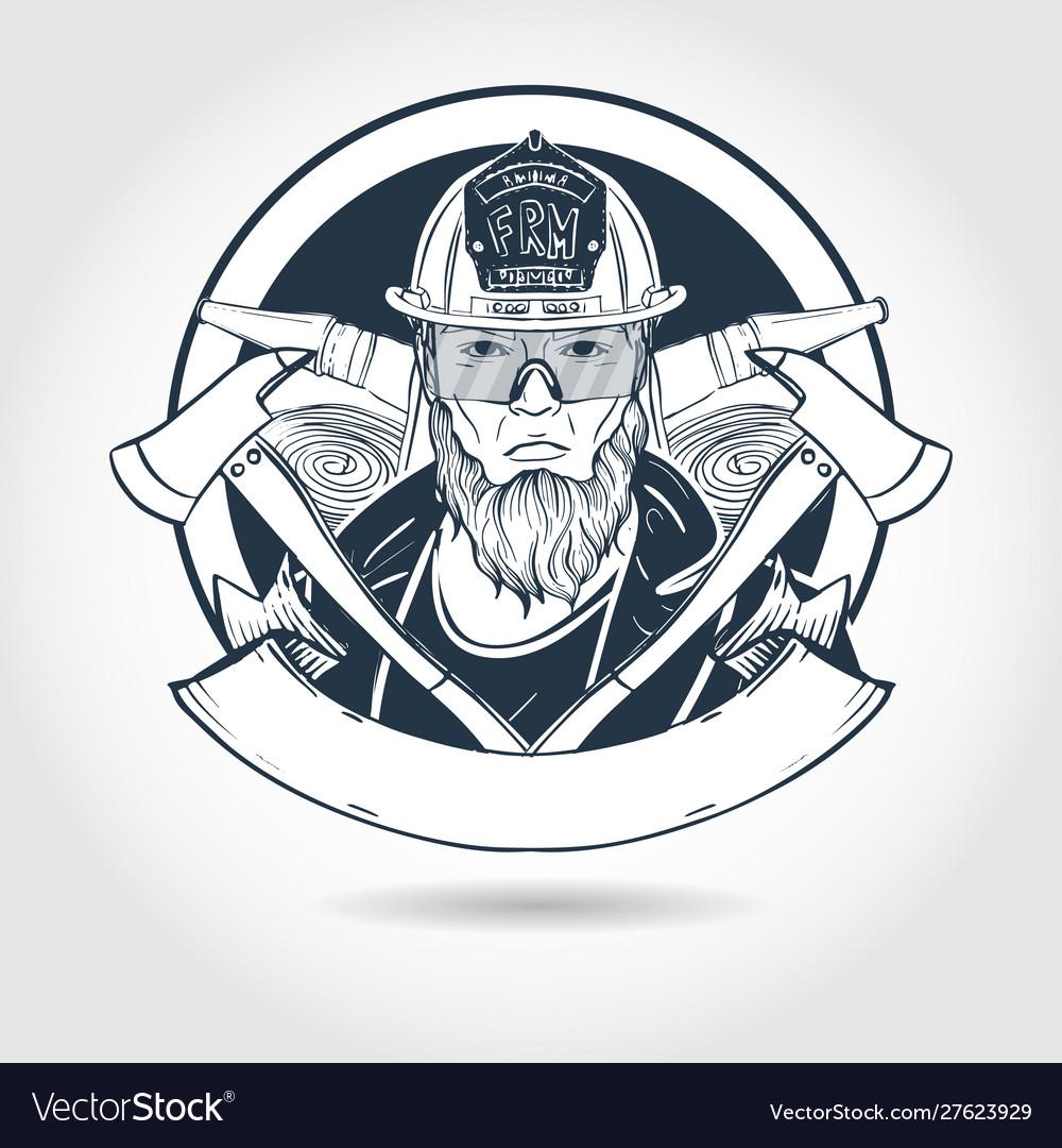 Hand drawn sketch fireman
