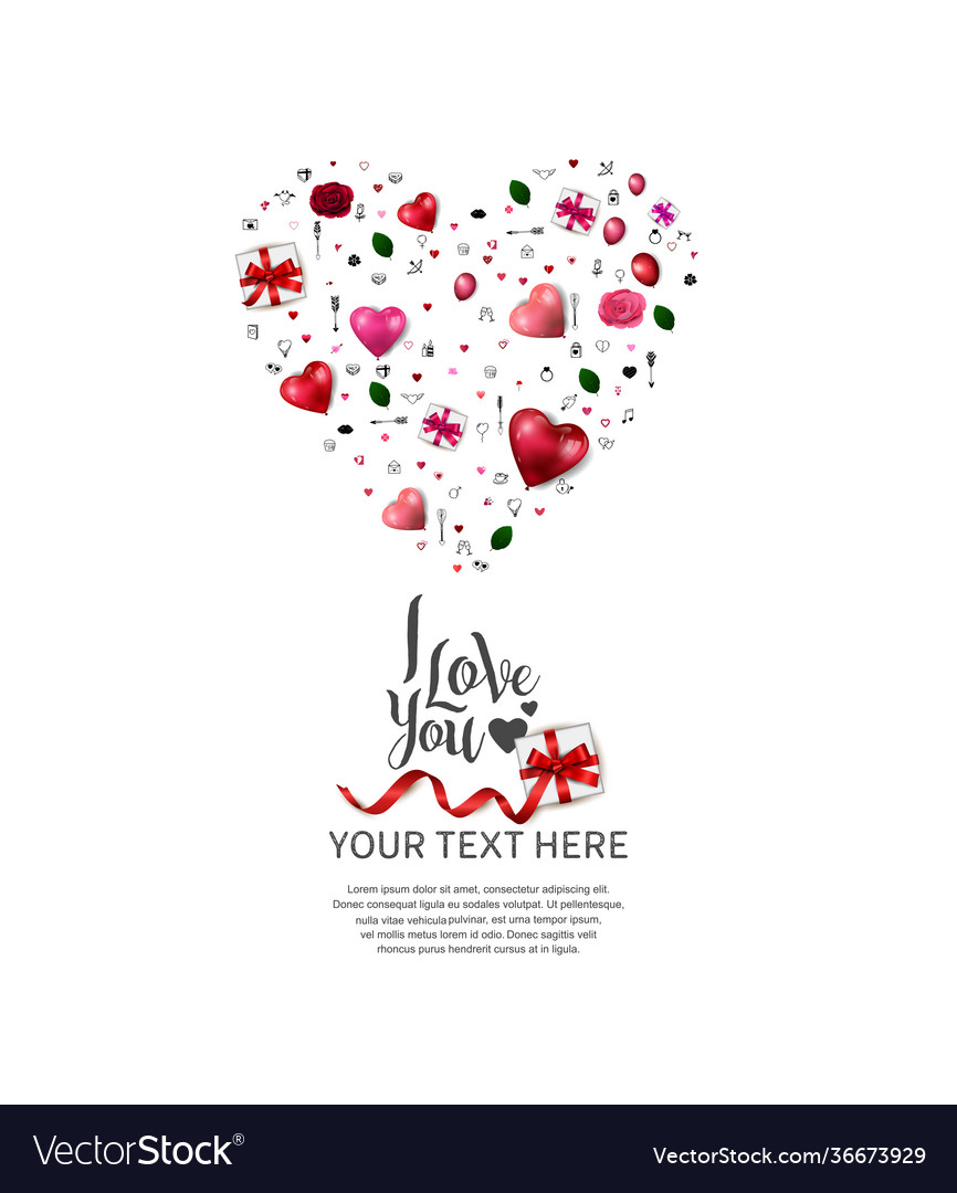 I love you design with heart shape from love