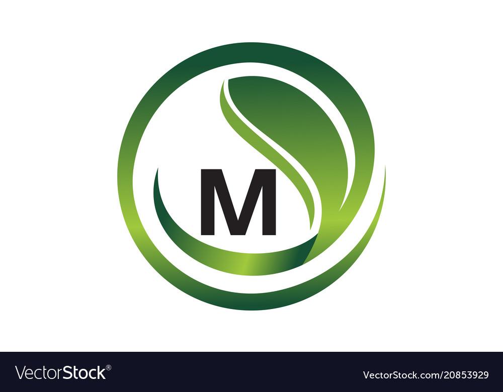 Leaf initial m logo design template