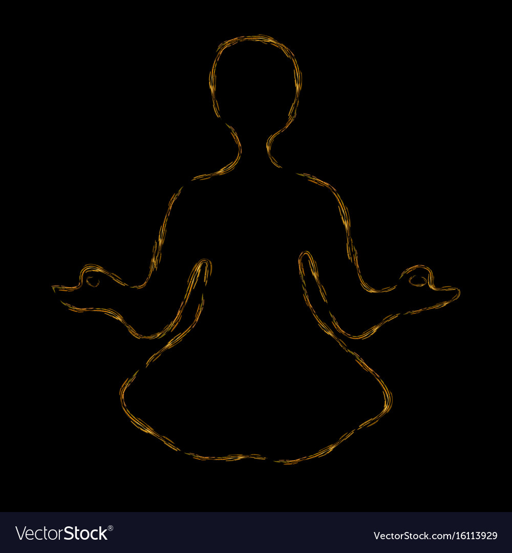 Meditating person with aura vector image