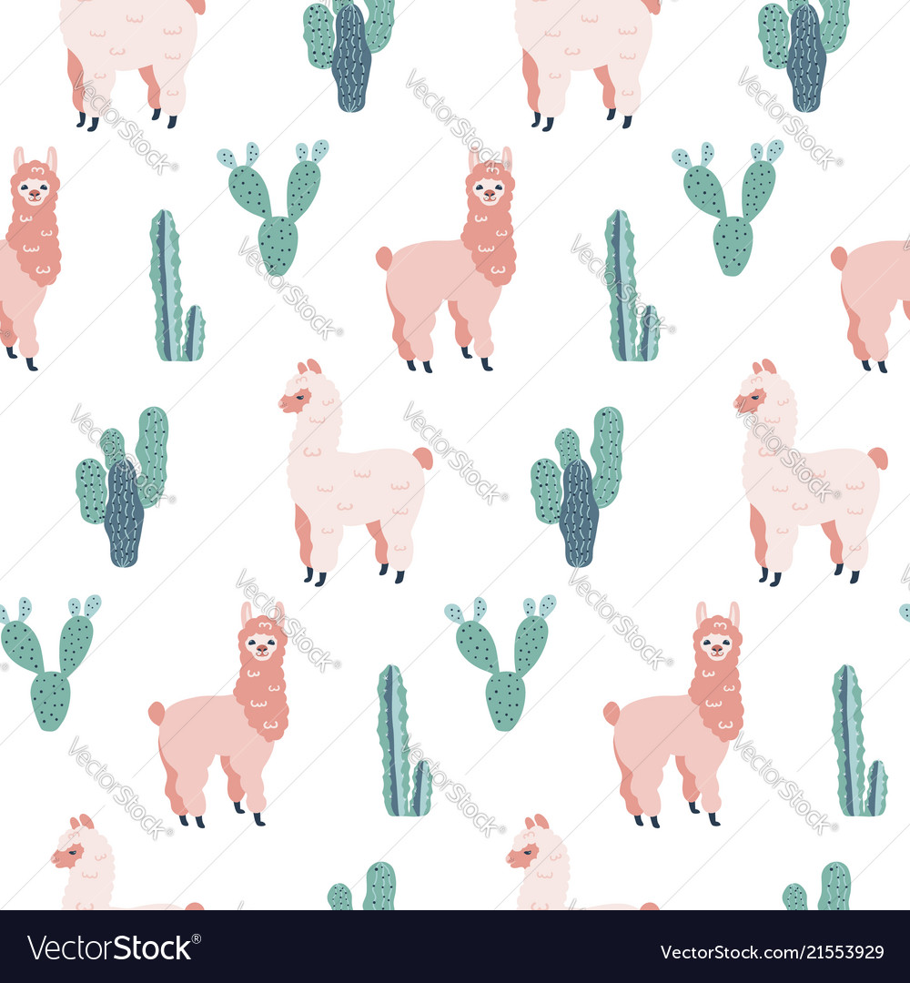 Modern seamless hand drawn pattern with alpacas