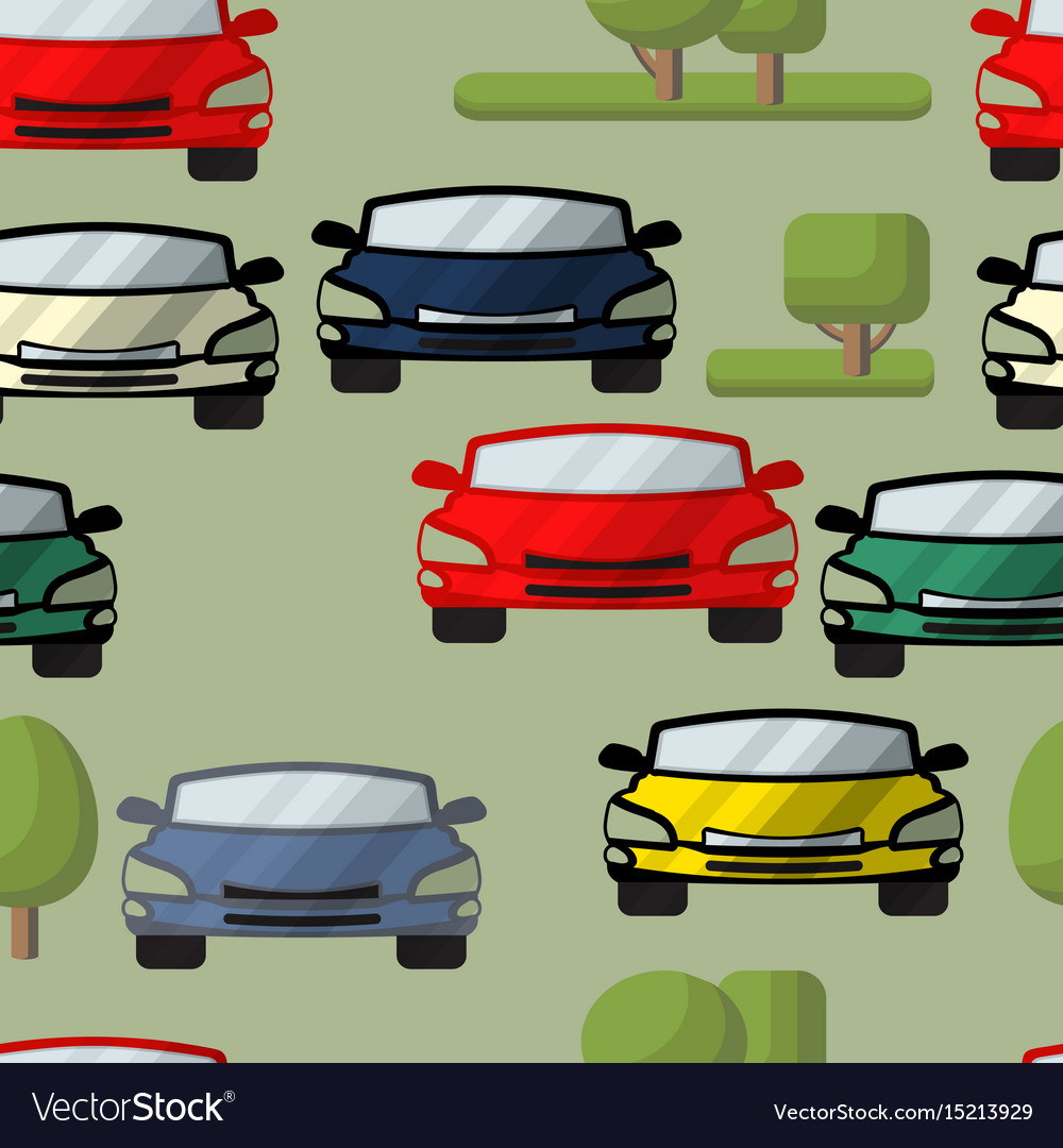 Seamless pattern of cars trees