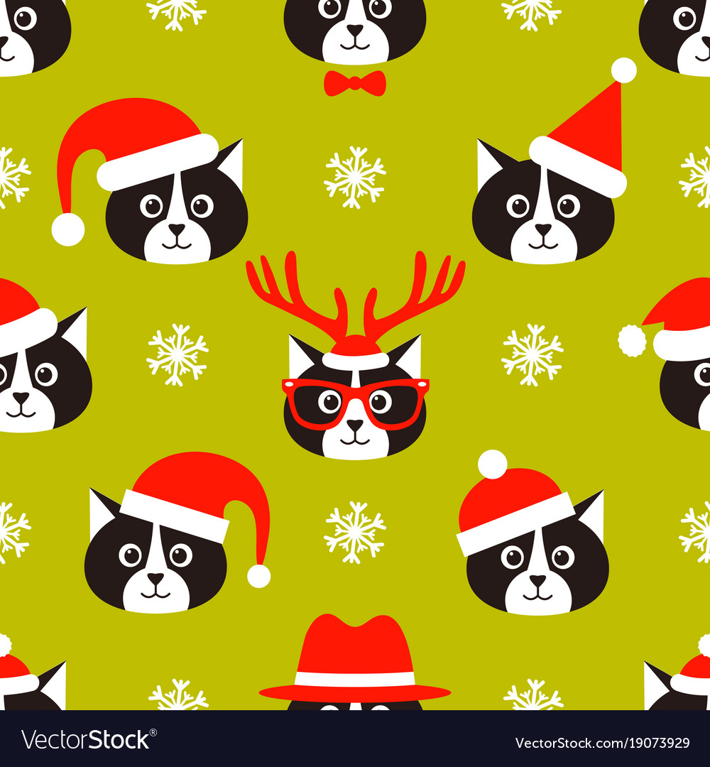 Seamless pattern with cats and santa hats