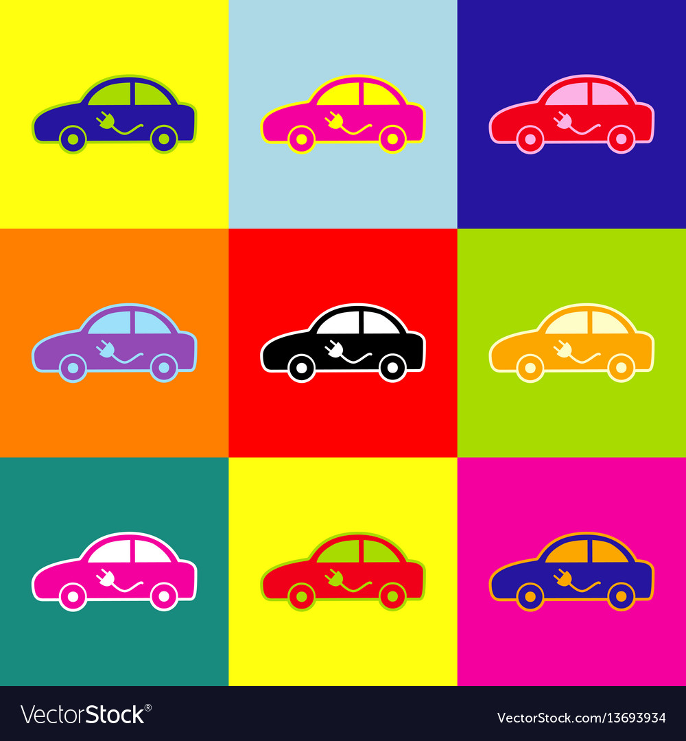 Electric car sign pop-art style colorful