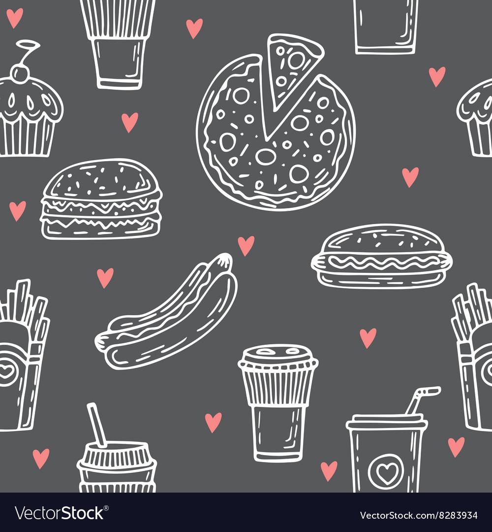 Fast food seamless pattern Hand drawn food