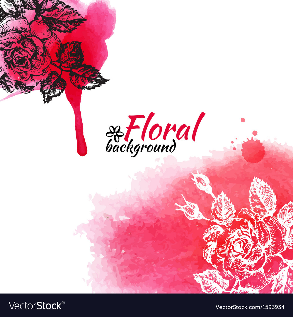 Floral Watercolor Background Royalty Free Vector Image