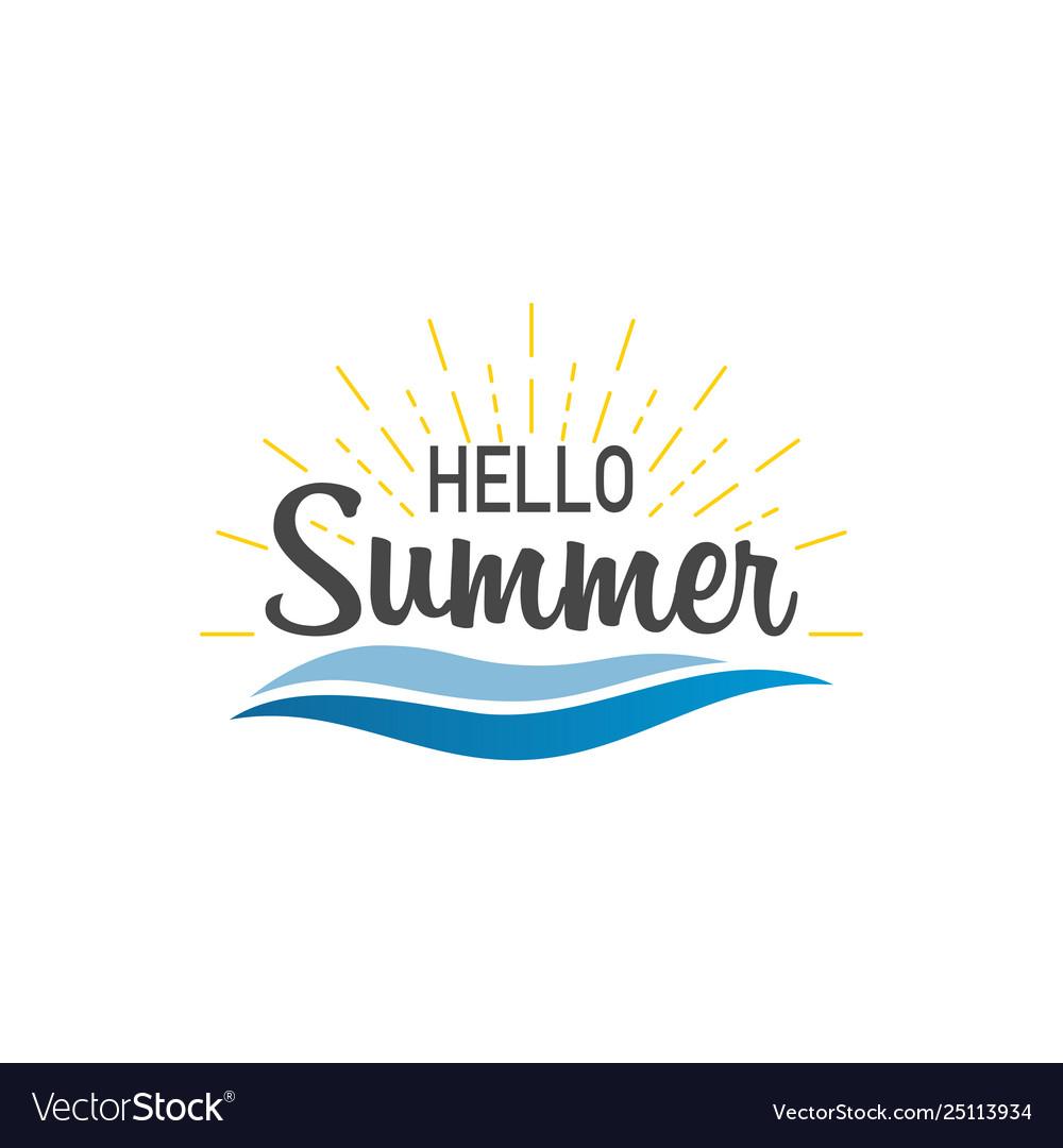 Hello summer banner hello summer with sunburst