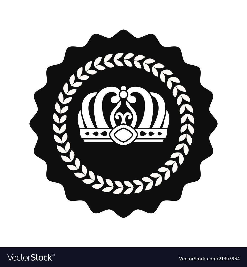 Kings crown in circle isolated monochrome emblem